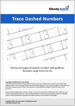 Writing: Numbers 0-20 Dashed