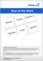 Days of Week: Picture Communication Cards