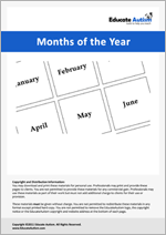 Months of the Year: Picture Communication Cards