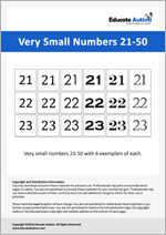 Numbers: Very Small 21-50