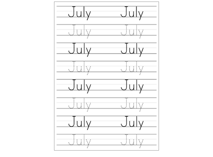 Handwriting Months July 2