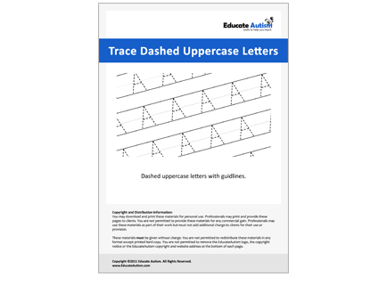 Dashed Uppercase Letters Handwriting Worksheets Educate Autism