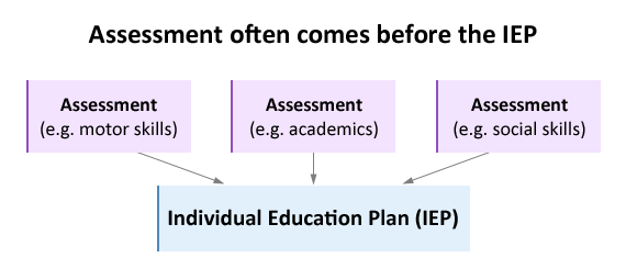 Showing assessment is used to devise the Individual Education Plan.