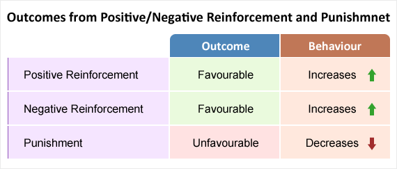 Showing how the outcomes from positive and negative reinforcement are favourable and that behaviours increase. Also showing how the outcomes from punishment is unfavourable and that the behaviour will decrease.