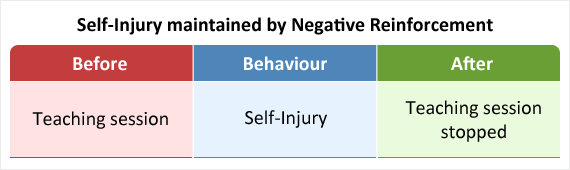 Self-injurious behaviour stopping teaching sessions as an example of negative reinforcement.