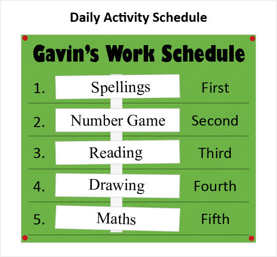 A text based daily schedule.