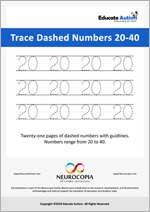 Writing: Numbers 20-40 Dashed