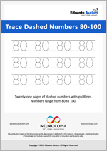 Writing: Numbers 80-100 Dashed
