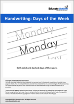 Writing: Days of the Week