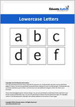 Lowercase Letters: Picture Communication Cards