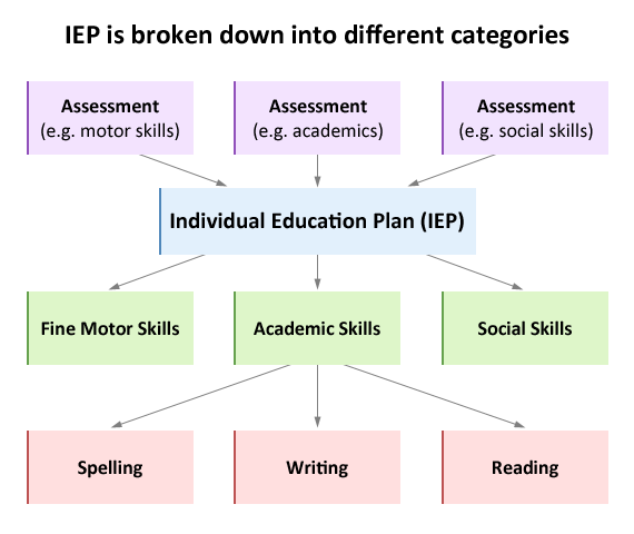 The Individual Education Plan is broken down into main categories and these are each broken down into specific academic areas.