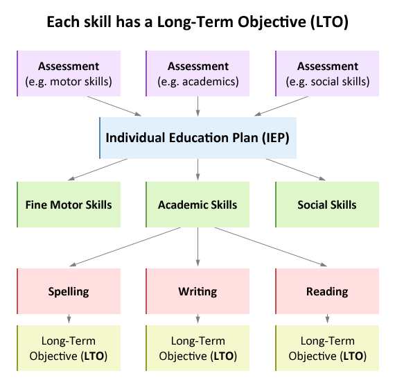 The skills are further broken down into Long-Term Objectives.