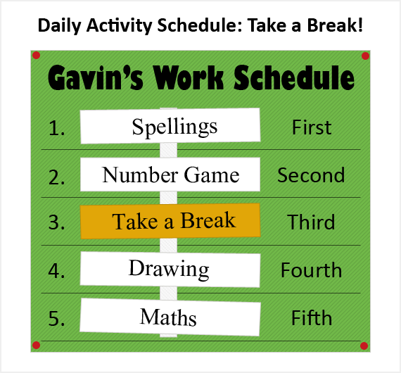 Daily schedule with a take a break option card.